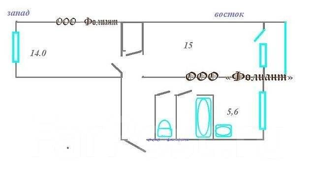 2-комнатная, улица Сахалинская 17. Тихая, агентство, 44 кв.м. План квартиры