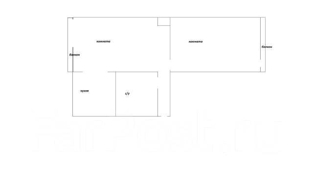 2-комнатная, улица Амурская 5. Первая речка, частное лицо, 44 кв.м. План квартиры