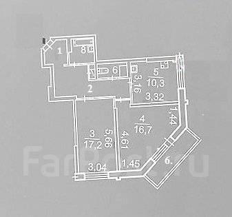 3-комнатная, улица Адмирала Горшкова 22. Снеговая падь, частное лицо, 64 кв.м. План квартиры
