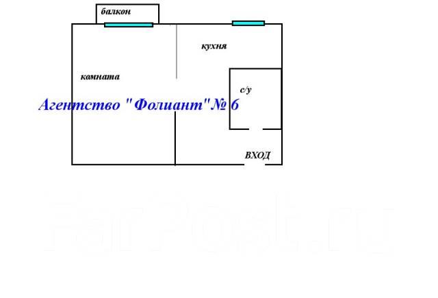 1-комнатная, улица Адмирала Юмашева 16а. Баляева, проверенное агентство, 31 кв.м. План квартиры