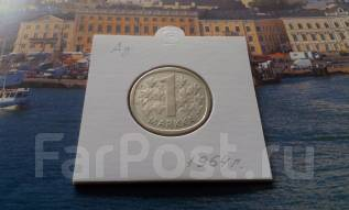 Серебро! Финляндия. 1 марка 1964 года в сохране. Первый выпуск.