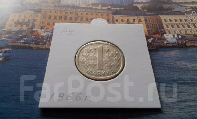 Серебро! Финляндия. 1 марка 1966 года в сохране.
