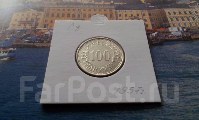 Серебро! Финляндия. 100 марок 1957 года в сохране. Нечастая! Торг!