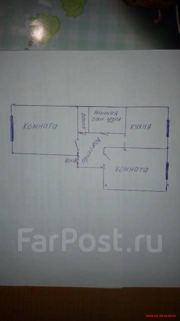 2-комнатная, улица Лермонтова 57. Трудовое, частное лицо, 38 кв.м. План квартиры