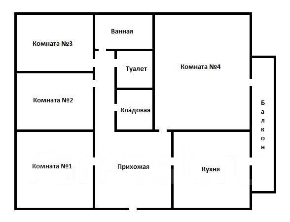 4-комнатная, улица Военное Шоссе 28. Некрасовская, 110 кв.м. План квартиры