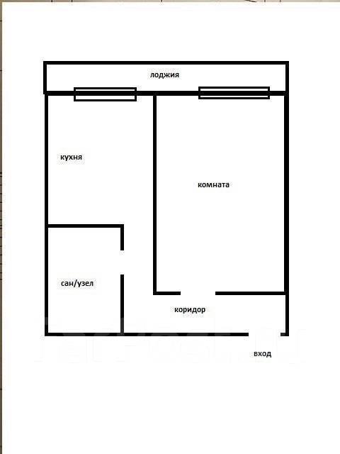 1-комнатная, улица Луговая 78. Баляева, частное лицо, 38 кв.м. План квартиры