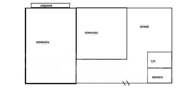 2-комнатная, улица Русская 11а. Вторая речка, частное лицо, 55 кв.м. План квартиры