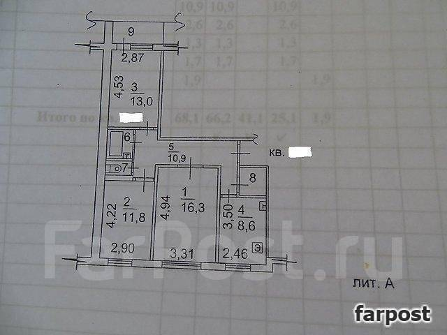 3-комнатная, улица Адмирала Кузнецова 82. 64, 71 микрорайоны, проверенное агентство, 69 кв.м. План квартиры