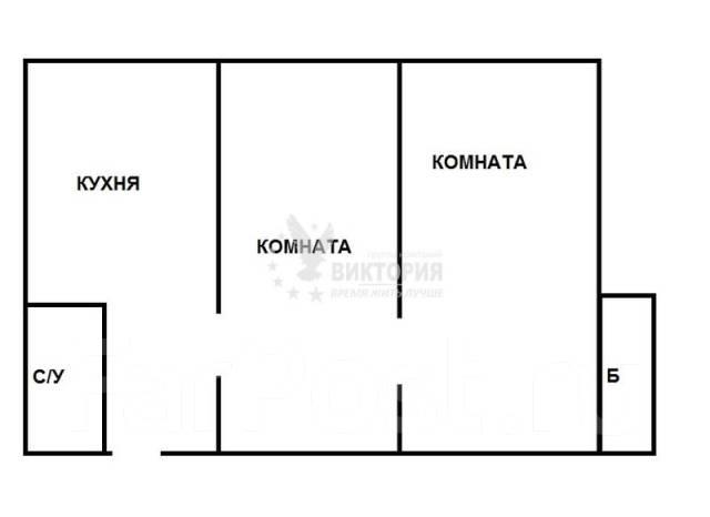 2-комнатная, улица Русская 73. Вторая речка, агентство, 46 кв.м. План квартиры