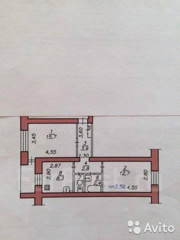 2-комнатная, улица Кирова 5. Краснофлотский, агентство, 48 кв.м.
