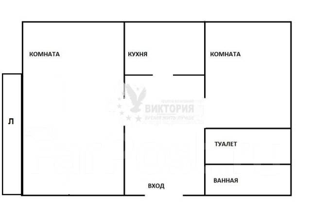 2-комнатная, улица Чкалова 20. Вторая речка, агентство, 54 кв.м. План квартиры