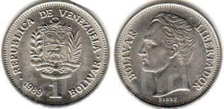 Венесуэла 1 боливар 1989 год (иностранные монеты)