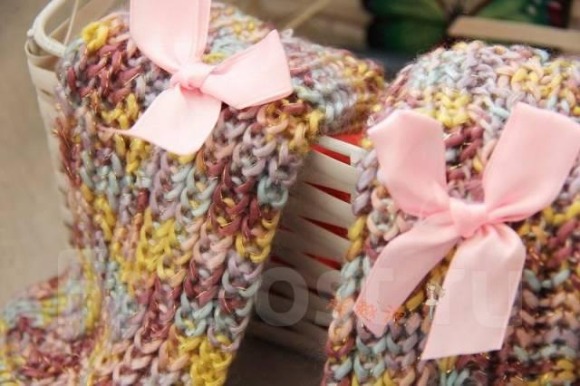 ! С рубля! Милые домашние тапочки-носочки с фиолетовыми бантиками. 40, 42, 44, 40-44