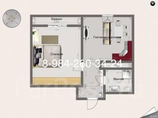 1-комнатная, Блюхера ул. Центральный, частное лицо, 52 кв.м.