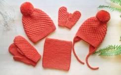 Шапка, шарф и варежки. 54, 55-59. Под заказ