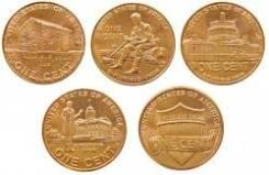 Набор 1 цент США - Жизнь Линкольна (5 монет)
