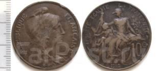 Франция 10 сантимов 1912 год (иностранные монеты)