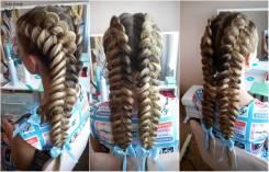 Плетение шикарных кос , причёски: вечерние, коктейльные, свадебные