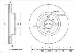 Диск тормозной передний TY FunCargo/Vitz RS/Probox/BB/Will/Ist, NCP1#/2#/3#/6#/7#, 99-05- SAT / ST-43512-52040