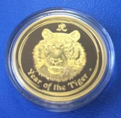 """Золотая монета 25 долларов Австралия """" Год Тигра """" 2010 год ! 7.78г !"""