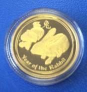 """Золотая монета 15 долларов Австралия """" Год Кролика """" 2011 год ! 3.1 г"""