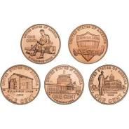 "Набор монет США. 1 цент ""жизнь Линкольна""."