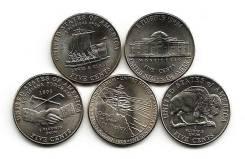 """Набор монет США. 5 центов """"Освоение дикого запада""""."""