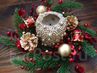 Новогоднее украшение на свечу/или маленький рождественский венок