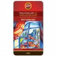 """Карандаши цветные, мягкие, Koh-I-noor, """"Polycolor"""", 12 цв, (жесть)"""