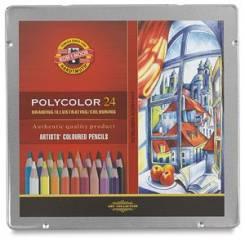 """Карандаши цветные, мягкие, Koh-I-noor, """"Polycolor"""", 24 цв, (жесть)"""