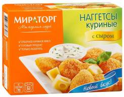 Наггетсы куриные с сыром, замороженные, Мираторг, 300г