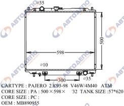 Радиатор охлаждения двигателя. Mitsubishi 1/2T Truck, V16B Mitsubishi Pajero, V46W, V46V, V26WG, V26W, V46WG