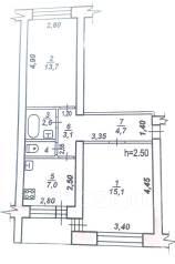 2-комнатная, улица Майская 35. Краснофлотский, частное лицо, 47 кв.м.
