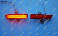 Неоновые катафоты в бампер Estima (фонари Эстима) с 2006г. - Красные. Toyota Estima