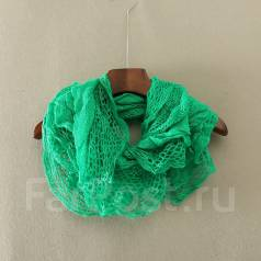 Распродажа! Тонкий вязаный шарфик. Цвет зеленый. 48, 50, 52, 54, 56