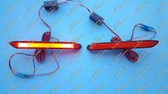 Неоновые катафоты в бампер Venza (фонари Венза) Красные. Toyota Venza