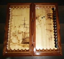 Морские резные нарды из дерева ручной работы. Отличный подарок!