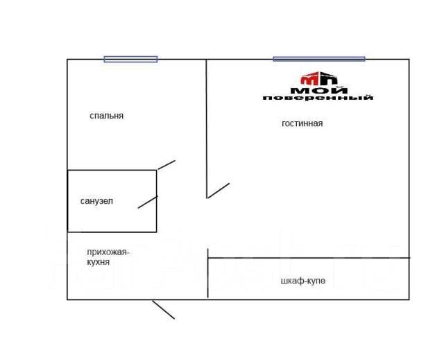 1-комнатная, улица Карбышева 28. БАМ, агентство, 35 кв.м. План квартиры