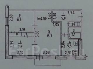 3-комнатная, улица Мате Залки 44. Индустриальный, агентство, 48 кв.м.