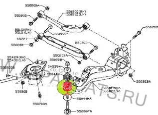 Сайлентблок подвески. Nissan: Qashqai+2, Rogue, X-Trail, Dualis, Qashqai Двигатели: HR16DE, K9K, M9R, MR20DE, R9M, QR25DE, MR16DDT, MR20DD
