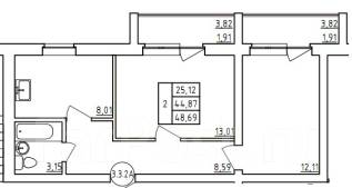 2-комнатная, улица Новая 8. Железнодорожный, агентство, 48 кв.м.