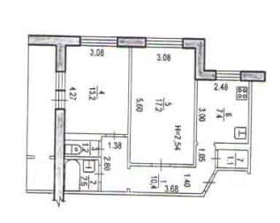 2-комнатная, улица Семашко 20. Железнодорожный, агентство, 53 кв.м. План квартиры