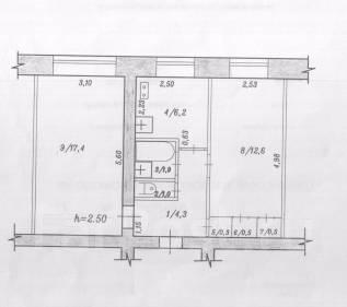 2-комнатная, улица Вокзальная 44/2. Центральный, частное лицо, 44 кв.м.