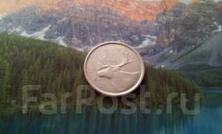 Серебро! Канада. 25 центов 1955 г. Северный олень.