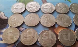 США. 15 монет по 5 центов. Без повторов!