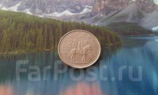 Канада. Юбилейные 25 центов 1973 г. Всадник.