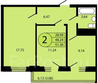 2-комнатная, улица Петра Метальникова 28. РИП, агентство, 52 кв.м.