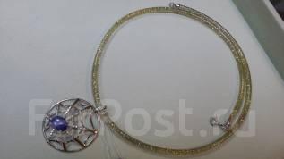 Шнурок (силикон) + белое золото ( 585 пр. ) 45 см
