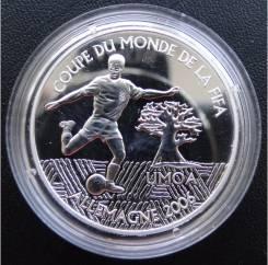 1000 франков КФА.2004г. ЗАГ. ЧМ по футболу в Германии. Серебро. Proof.
