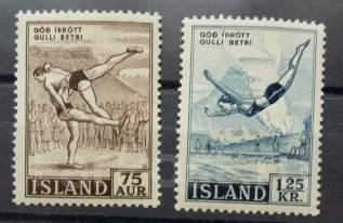 1955 Исландия. Спорт 2 марки Чистые